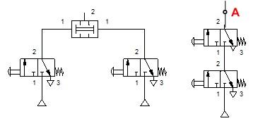Pneumatics logic AND circuit
