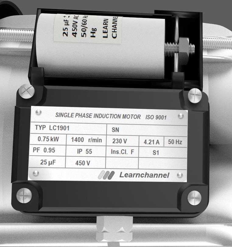 Single-phase Induction motor, Capacitor motor - nameplate