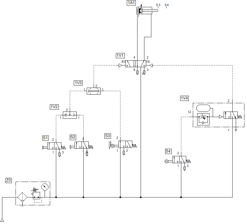 Solution work order - pneumatic circuit from a give