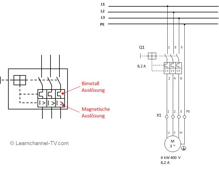 Motorschutzschalter - Schaltzeichen, Funktion und Schaltung
